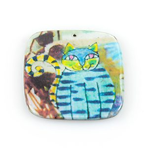 paper print wood pendant flat square cat design