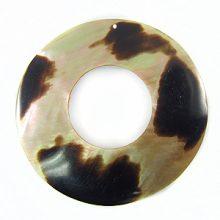 Brownlip donut 35mm moon des. w/ hole wholesale pendants