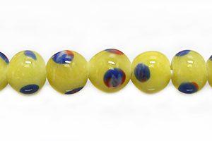 mnaik manik glass 7-8mm yellow round wholesale beads