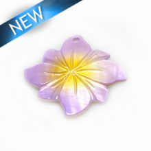 River shell painted purple flower pendant wholesale