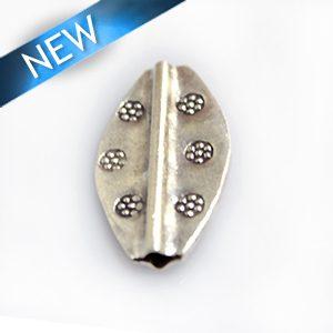 Thai silver bead flat elongated 15mm