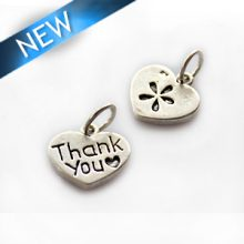Thai silver charm Thank you engraved