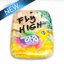 "Laminated paper print ""fly high"" bird 32mm"