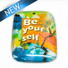 """laminated paper print """"be yourself"""" 32mm"""