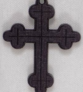 Stained black mahoganny laser etched wood cross