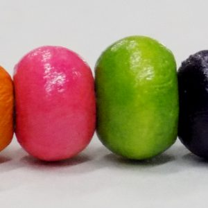 multicolored wood crow bead 7mm w/ 2mm hole