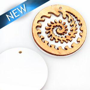 wholesale White hambabalud wood laser enrgraved pendants