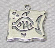 sterling silver Fish Bubbles Square Pendant
