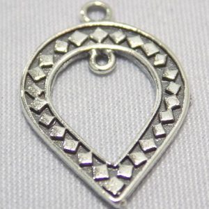 sterling silver Ornate Cut Out Teardrop Pendant