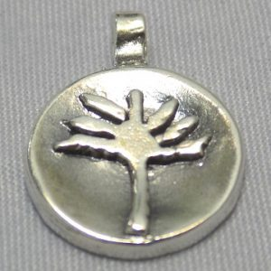 sterling silver Palm Tree Circle Pendant
