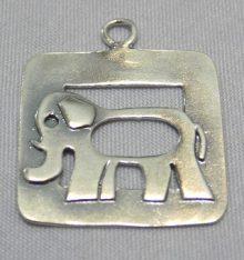 Elephant Framed Pendant - Large sterling silver