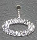 sterling silver Textured Oval Drop Pendant - Large