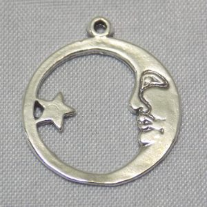 Moon and Star Circular Pendant sterling silver