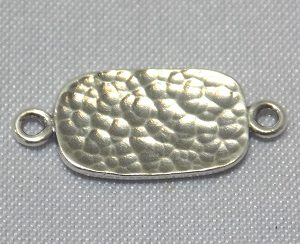 sterling silver Hammered Flat Rectangle Link Connector
