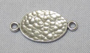 sterling silver Hammered Flat Oval Link Connector