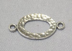 sterling silver Hammered Cut-Out Oval Link Connector