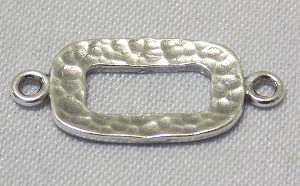 sterling silver Hammered Cut-Out Rectangle Link Connector