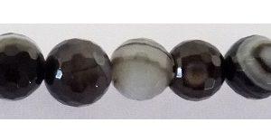 Black Banded Faceted Agate 8mm wholesale gemstones