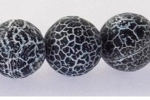 Black Matte Crackle Agate Beads 12mm wholesale gemstones