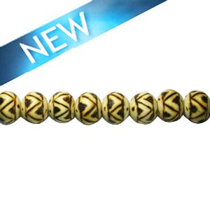 Wooden round 10mm ethinic design bead