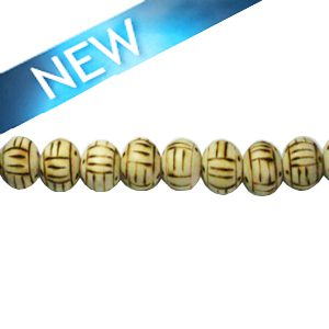 Wooden round 10mm linear design bead