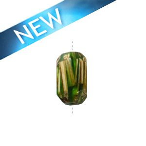 Laminated albutra roots faceted tube green