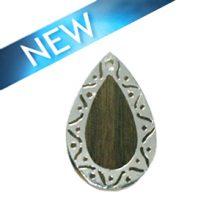 Graywood teardrop carved silver framed