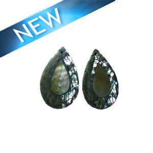 Cracking abalone shell teardrop shape with blacklip shell inset, flat back earring component