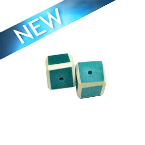 Blue Green colored dice wood beads