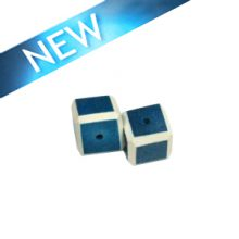 Coral blue colored dice wood beads 15mm