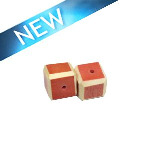 Melon Colored dice wood beads