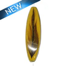 Four-sided Mahogany wood tube laminated with rooster feather yellow