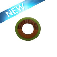 Palmwood donut pendant with frosted Olive bossa nova resin inset