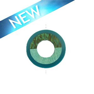 Palmwood donut pendant with frosted resin inset pastel turquoise tan