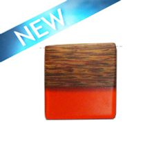 Rectangular Palmwood pendant with frosted orange resin inlay