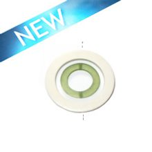 White wood 50x6mm donut with colored frosted olive green resin inset pendant