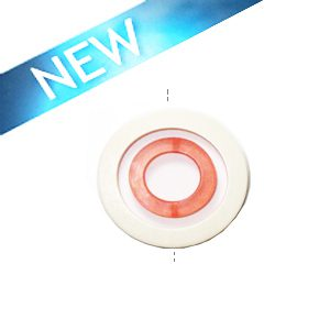 White wood donut 50x6mm with colored frosted orange resin inset pendant