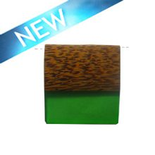 Rectangular Palmwood pendant with frosted green resin inlay wholesale pendant