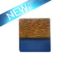 Rectangular Palmwood pendant with frosted green resin inlay wholesale pendants