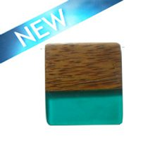 Rectangular Palmwood pendant with frosted turquoise resin inlay wholesale pendant