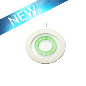 White wood 50x6mm donut with colored frosted green resin inset pendant wholesale