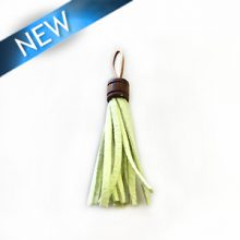 wholesale Tassel Suede with wooden tube lime green 10x60mm